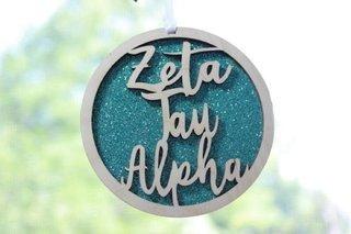 "Zeta Tau Alpha Laser Carved Script Ornament - 3"" Round"