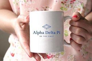 Alpha Delta Pi White Mascot Coffee Mug