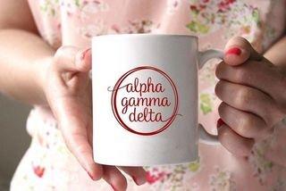 Alpha Gamma Delta White Mascot Coffee Mug - Personalized!