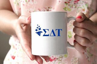 Sigma Delta Tau White Mascot Coffee Mug - Personalized!
