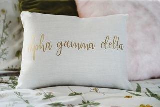 Alpha Gamma Delta Gold Imprint Throw Pillow