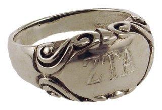 Antique Oval Flower Sorority Ring
