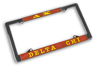 Delta Chi Chrome License Plate Frames