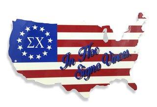 USA Greek Lettered Map Metal Sign