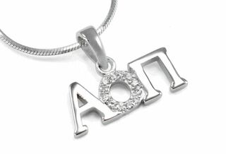 Alpha Omicron Pi Horizontal Lavaliere with Lab-Created Diamonds
