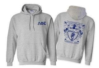 Lambda Phi Epsilon World Famous Crest - Shield Printed Hooded Sweatshirt- $35!