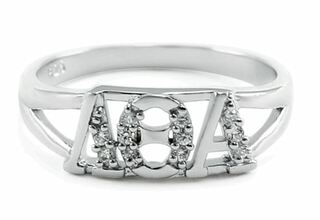 Lambda Theta Alpha Sterling Silver Ring with lab created diamonds