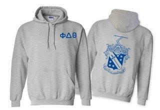 Phi Delta Theta World Famous Crest - Shield Printed Hooded Sweatshirt- $35!