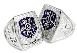 Sigma Lambda Beta Sterling Silver Crest - Shield Ring with Purple Enamel