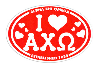 Alpha Chi Omega I Love Sorority Sticker - Oval