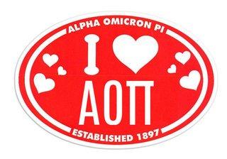 Alpha Omicron Pi I Love Sorority Sticker - Oval