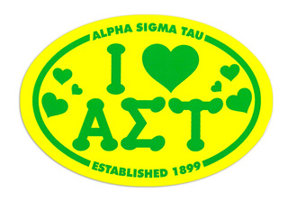 Alpha Sigma Tau I Love Sorority Sticker - Oval