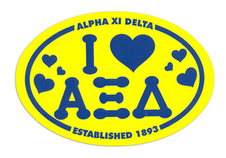 Alpha Xi Delta I Love Sorority Sticker - Oval