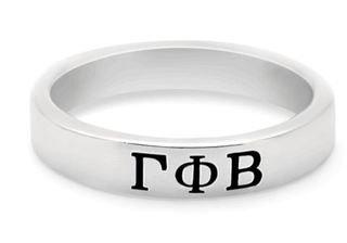 Gamma Phi Beta Sterling Silver Skinny Band Ring