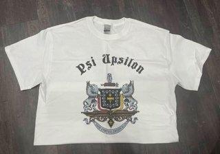 The New Super Savings - Psi Upsilon Vintage Crest T-Shirt - WHITE
