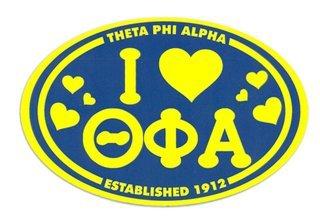 Theta Phi Alpha I Love Sorority Sticker - Oval