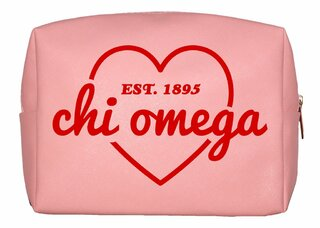 Chi Omega Pink with Red Heart Makeup Bag