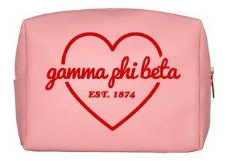 Gamma Phi Beta Pink with Red Heart Makeup Bag