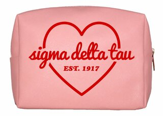 Sigma Delta Tau Pink with Red Heart Makeup Bag