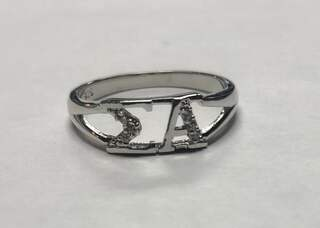 Super Savings - Sigma Alpha Sterling Silver Ring set with Lab-Created Diamonds - SILVER