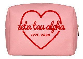 Zeta Tau Alpha Pink with Red Heart Makeup Bag