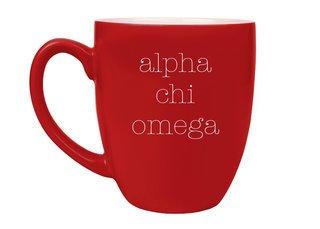 Alpha Chi Omega Type Engraved Bistro Mug