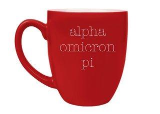 Alpha Omicron Pi Type Engraved Bistro Mug
