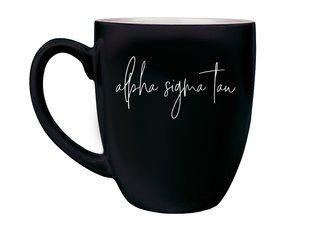 Alpha Sigma Tau Script Engraved Bistro Mug