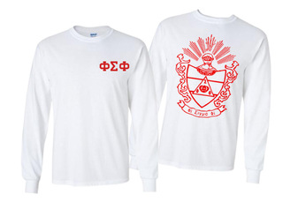 Phi Sigma Phi World Famous Crest - Shield Long Sleeve T-shirts- $19.95!