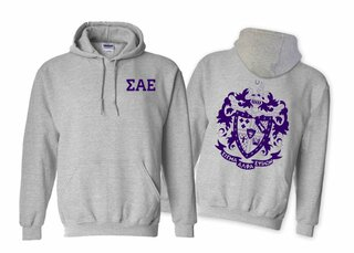 Sigma Alpha Epsilon World Famous Crest - Shield Printed Hooded Sweatshirt- $35!