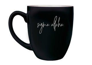 Sigma Alpha Script Engraved Bistro Mug