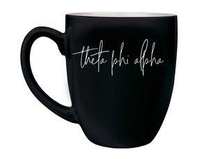 Theta Phi Alpha Script Engraved Bistro Mug