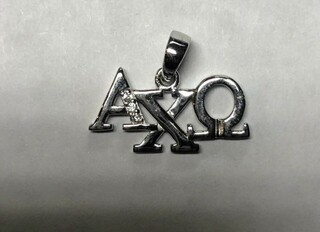 Super Savings - Alpha Chi Omega Horizontal Lavaliere with Lab-Created Diamonds - SILVER