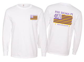 Phi Sigma Pi Stripes Long Sleeve T-shirt - Comfort Colors