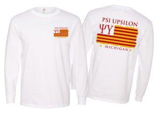 Psi Upsilon Stripes Long Sleeve T-shirt