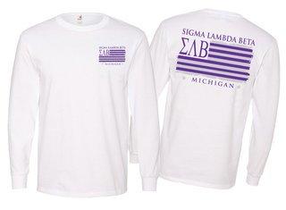 Sigma Lambda Beta Stripes Long Sleeve T-shirt - Comfort Colors