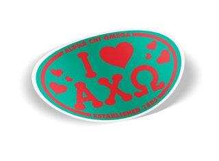 Alpha Chi Omega I Love Sorority Sticker - Oval