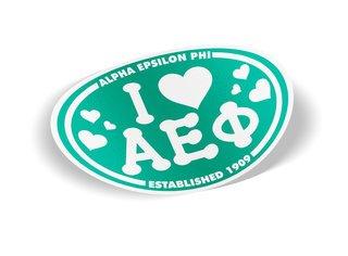 Alpha Epsilon Phi I Love Sorority Sticker - Oval
