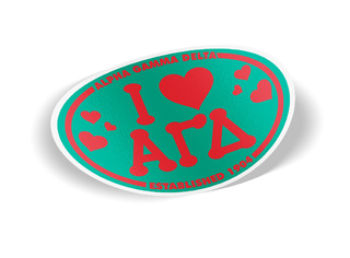 Alpha Gamma Delta I Love Sorority Sticker - Oval