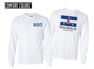 Beta Theta Pi Flag Long Sleeve T-shirt - Comfort Colors