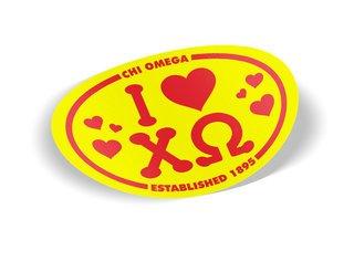 Chi Omega I Love Sorority Sticker - Oval