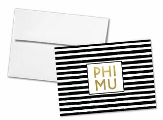 Phi Mu Striped Notecards(6)