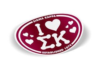 Sigma Kappa I Love Sorority Sticker - Oval