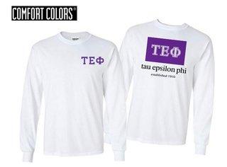 Tau Epsilon Phi Flag Long Sleeve T-shirt - Comfort Colors