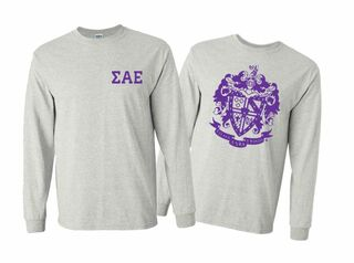 Sigma Alpha Epsilon World Famous Crest - Shield Long Sleeve T-Shirt- $19.95!