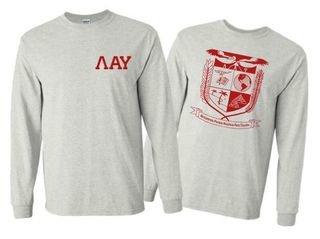 Lambda Alpha Upsilon World Famous Crest - Shield Long Sleeve T-Shirt- $19.95!