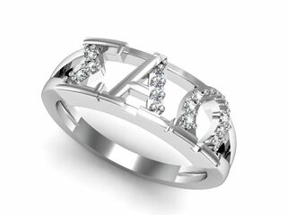 Sigma Alpha Omega Sterling Silver Ring set with Lab-Created Diamonds