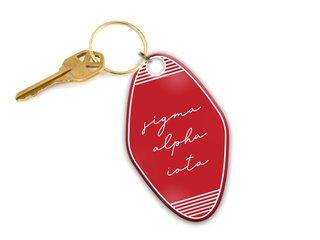 Sigma Alpha Iota Script Motel Keychain