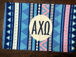 Super Savings - Alpha Chi Omega Door Mat - BLUE AND PINK