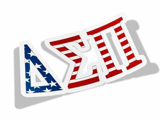 "Delta Sigma Pi American Flag Greek Letter Sticker - 2.5"" Tall"